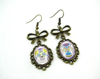 SALE 50% earrings retro Mexican skull, dia los muertos