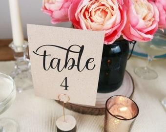 Wedding Table Number Cards, Printed Wedding Table Numbers, Rustic Table Numbers, Modern Calligraphy, Kraft or White, FREE SHIPPING