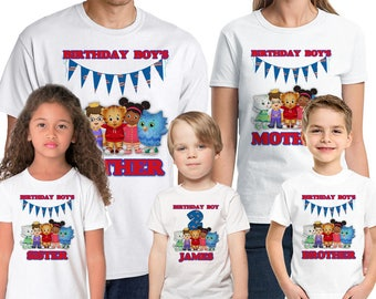 Daniel Tiger's Neighborhood Birthday Shirt Add Name & Age Daniel Tiger Custom Birthday Party Shirt