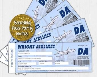 Boarding Pass Party Invitation, Travel Invitations, Boarding Pass Invite, Travel Themed Invitation, Airplane Invitation, Personalized Invite