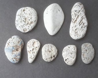 Eight Lava Stones, Volcanic Stones, Rocks and Minerals, Craft Supply, Natural Jewelry, Natural Pendant, Sea Glass Art, Beachcombed Stones