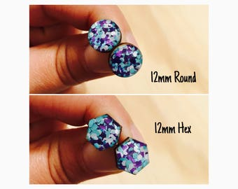 12mm Blueberry Glitter Pop Resin/Bamboo Stud Earrings • Round • Hexagon • Surgical Steel • Hypoallergenic • Blue • Purple • White • Glossy