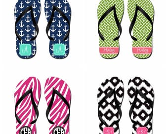 Personalized Flip Flops w/ Black Bottom & Straps - Free Shipping! (Adult)