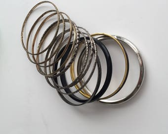 Set of 13Brown and Gold Retro Bangles