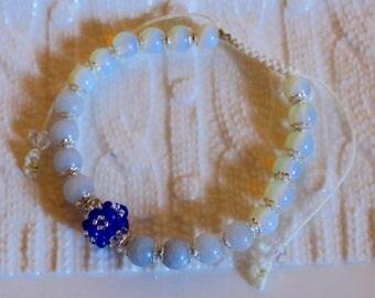 Cute Sapphire, Aquamarine & Opal-beaded bracelet; handmade, shamballa, beadweaving, beautiful, casual-wear, party-wear
