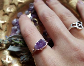 Amethyst Ring - Purple Jewelry - Unique Engagement Ring - Amethyst Statement - Purple Crystal Ring - February Birthstone Ring - Protection