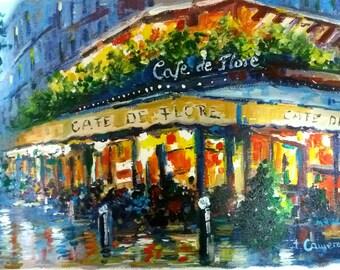 Cafe de Flore. Paris. Original acrylic on canvas 16' x 10' (41x27)cm. Jose Camero