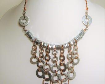 Bib Necklace,Hardware Jewelry, Industrial Jewelry, Stainless Steel Jewelry, Hardware, Copper Jewelry, Edgy Jewelry, Statement Necklace,