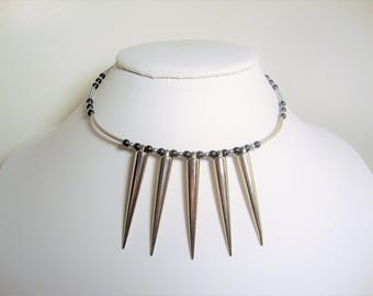 Spiked Necklace, Hematite Beaded Necklace, Beaded Spiked Necklace, Spiked Jewelry, Biker Jewelry, Goth, Bohochic