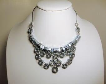 Bib Necklace, Statement Necklace, Geometric Necklace, Minimalist Necklace, Industrial Jewelry, Steel Jewelry, Necklaces,Hardware Jewelry