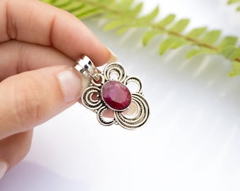 Ruby Pendant, Sterling Silver Pendant, Ruby Wedding Anniversary, Ruby Necklace, Ruby Stone, Delicate Pendant, Boho,