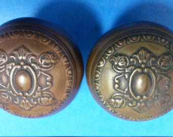 "Antique Door Knobs, Wrought Bronze Reading Hardware ""Creston"" Pattern, Pair of 2 Each, ca. 1901"