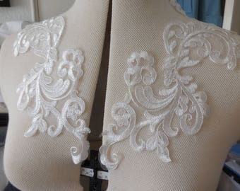 A pair of off white bridal lace collar appliques / cotton lace bolero motifs