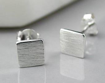 50% off SALE Magdelena Square Stud Earrings, Sterling Silver, Brushed Silver Earrings, Matt Silver Earrings, Textured Silver Earrings, Squar