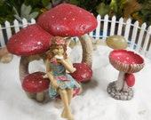 Fairy Accessory Red Mushroom Bench ~ Miniature Mushroom Arbor w/ 3 Tiny Mushroom Cap Seats ~ Supplies for Fairy Gardens & Terrariums