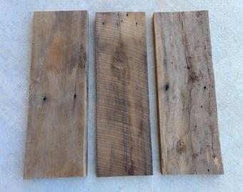 Set of 3 reclaimed 1x8 barn wood shelves, blank wood signs, weathered wood, aged wood plank, wood planks, barnwood planks