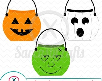 Candy Buckets - Halloween Graphic - Digital download - svg - eps - png - dxf - Cricut - Cameo - Files for cutting machines