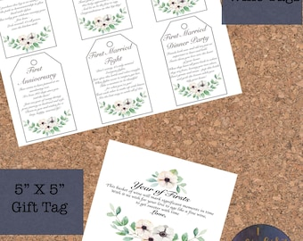 MR & MRS Printable Year of Firsts Wine Bottle Tags - Wine Gift Basket - Wedding Gift Basket - Shower Gift Basket - Floral - Milestones