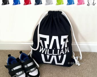 Personalised top quality drawstring bag with name