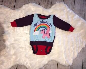 Girls Unicorn Top | I Love Unicorns | 3 Month Bodysuit Suit