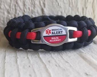 Sulfa Allergy Medical alert Paracord Bracelet