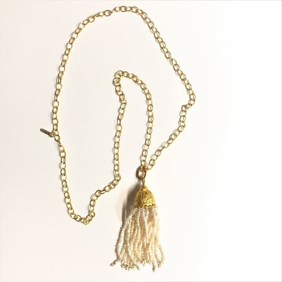 """TASSEL NECKLACE, PEARL Tassel, 24K Gold Plated Rollo Link Chain, Tassel Necklace, Removable Pendant Clasp, Double Wrap necklace, 42"""" Long"""