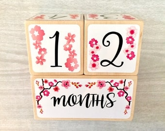 Baby Age Blocks - Baby Milestone Blocks - Cherry Blossom Flowers - Newborn Girl- Monthly Weekly Yearly Baby Blocks - Baby Shower Gift