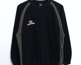 RARE!!! TOPPER Sport Small Logo Embroidery Crew Neck Black Colour Sweatshirts Hip Hop Swag M Size