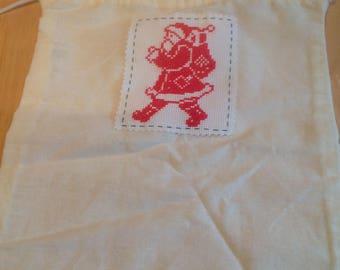 Cross stitch Christmas Santa bag