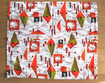French vintage fifties fabric- France/ Années 50/abstract/mobile/geometric/orange/africa/colors/cushion/couture/tea towel