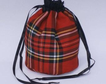 Red Stuart Tartan Dolly Bag Purse Evening Handbag With Black Satin Ribbon