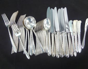 towle silver flutes pattern sterling silver flatware 6 piece place setting service for