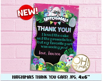 Hatchimals Thank you card, Hatchimals Birthday , Hatchimal Party Supplies, Hatchimal printable,  Hatchimals decorations, hatchimals favors