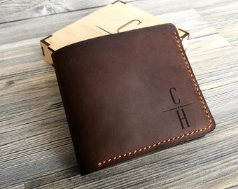 Personalized Mens Wallet Mens Leather Wallet Father's Day Gift Christmas Gift for Dad Groomsmen Gift Mens Wallet Personalized Gift for Men