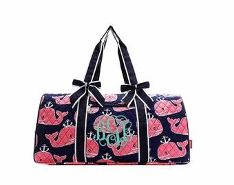 Navy Pink Whale duffle bag, Monogrammed duffel bag Personalized Tote Travel Tote Cheer Gym Weekend Weekender