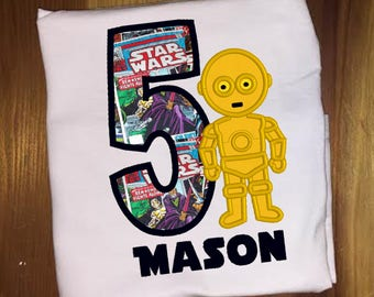 C3PO Star Wars Birthday Shirt Embroidered Applique Shirt