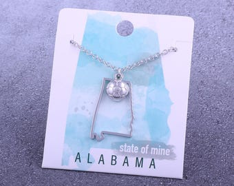 Customizable! State of Mine: Alabama Soccer Silver Necklace - Great Soccer Gift!