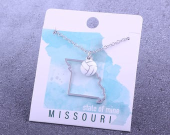 Customizable! State of Mine: Missouri Volleyball Enamel Necklace - Great Volleyball Gift!