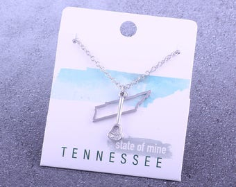 Customizable! State of Mine: Tennessee Lacrosse Stick Silver Necklace - Great Lacrosse Gift!