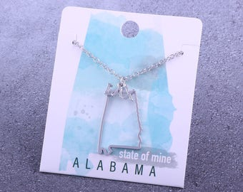 Customizable! State of Mine: Alabama LAX Silver Lacrosse Necklace - Great Lacrosse Gift!