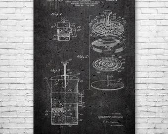 French Press Coffee Maker Cafetiere Poster Patent Art Print Gift FREE SHIPPING, French Press Poster, Coffee Wall Art, French Press Patent