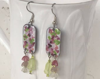 Flower Garden Earrings, Enameled Earrings, Drop Earrings, Dangle Earrings, Garden Theme Earrings
