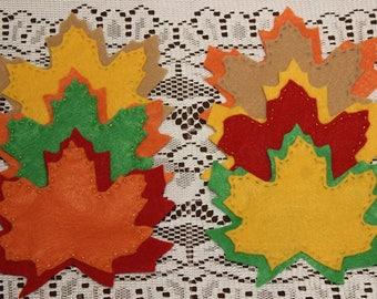 Fall Leaf Coaster Set, Autumn Leaf Coasters, Felt Coasters, Leaf Coaster Set, Autumn Decor, Fall Decor, Harvest Coasters, Harvest Decor