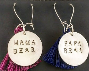 Wine Glass Charms - mama bear & papa bear  with tassels