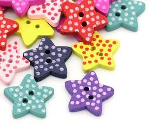 Wooden Star Buttons polka dot button crafts