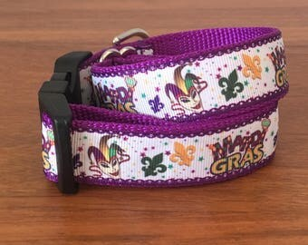 Mardi Gras dog collar- size large