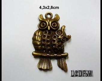 * ¤ 1 OWL pendant and its little metal Bronze - 4, 3 x 2, 8cm ¤ * #PC56