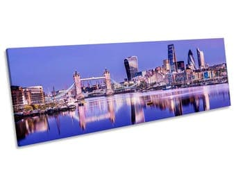 London City Skyline CANVAS WALL ART Panoramic Framed Print