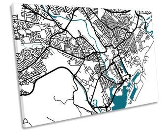 Cardiff Map City Wales Minimalistic Modern CANVAS WALL ART Print Picture