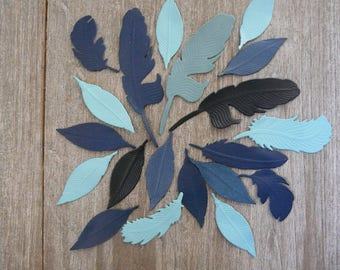 lolt 20 leather feathers, blue tones for customizing and creating from 4 to 6.5 cm